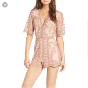 Socialite light pink lace v neck romper, size XS
